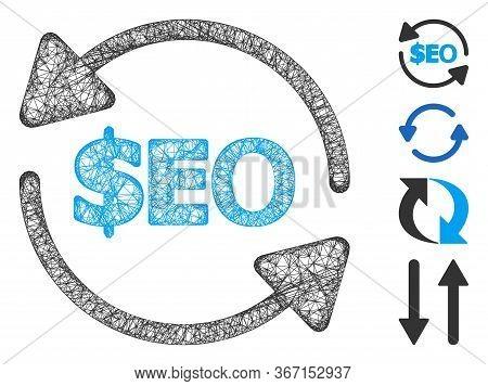 Mesh Refresh Seo Web Icon Vector Illustration. Carcass Model Is Based On Refresh Seo Flat Icon. Mesh