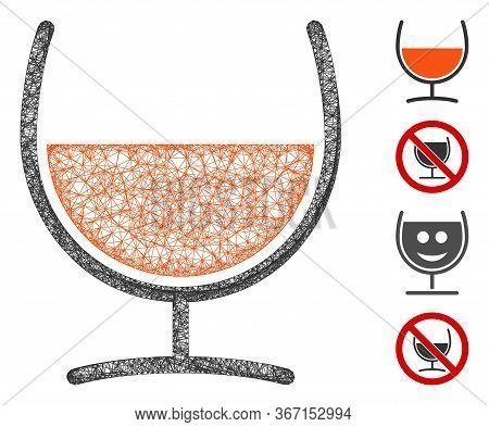Mesh Remedy Glass Web 2d Vector Illustration. Carcass Model Is Based On Remedy Glass Flat Icon. Mesh