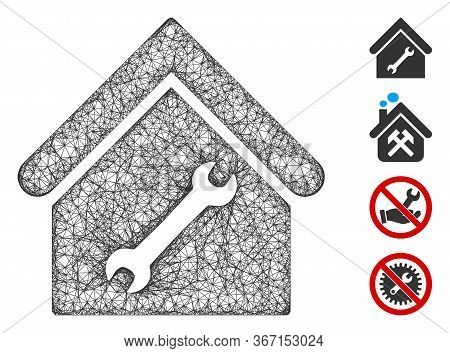 Mesh Repair Building Web Icon Vector Illustration. Carcass Model Is Created From Repair Building Fla