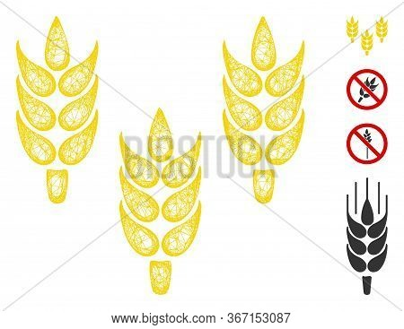 Mesh Rice Web 2d Vector Illustration. Carcass Model Is Based On Rice Flat Icon. Network Forms Abstra