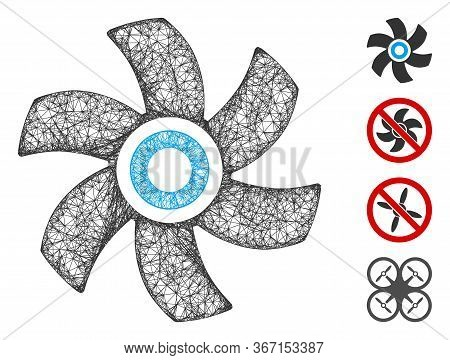 Mesh Rotor Web Icon Vector Illustration. Model Is Created From Rotor Flat Icon. Network Forms Abstra