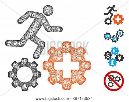 Mesh Runner Treatment Process Gears Web Icon Vector Illustration. Model Is Based On Runner Treatment