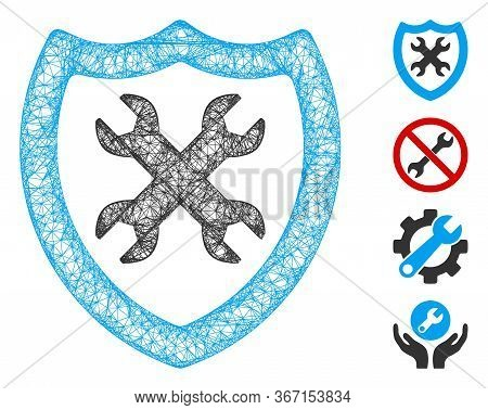 Mesh Security Configuration Web Icon Vector Illustration. Abstraction Is Based On Security Configura