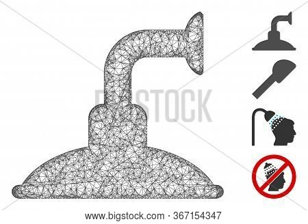 Mesh Shower Head Web Icon Vector Illustration. Carcass Model Is Based On Shower Head Flat Icon. Mesh