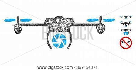 Mesh Shutter Spy Airdrone Web Icon Vector Illustration. Model Is Created From Shutter Spy Airdrone F