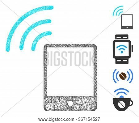 Mesh Smartphone Wi-fi Signal Web Icon Vector Illustration. Model Is Created From Smartphone Wi-fi Si