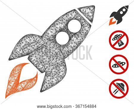 Mesh Space Rocket Launch Web Icon Vector Illustration. Carcass Model Is Based On Space Rocket Launch