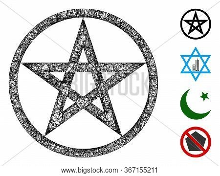 Mesh Star Pentacle Web 2d Vector Illustration. Model Is Based On Star Pentacle Flat Icon. Mesh Forms