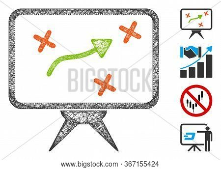 Mesh Strategy Board Web Icon Vector Illustration. Carcass Model Is Created From Strategy Board Flat