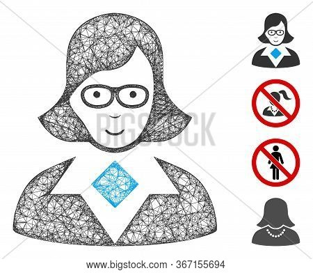 Mesh Teacher Lady Web Icon Vector Illustration. Carcass Model Is Created From Teacher Lady Flat Icon