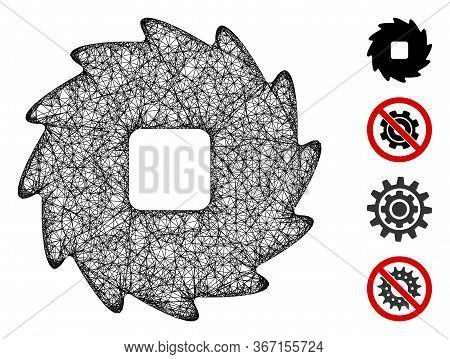 Mesh Teeth Ratchet Wheel Web 2d Vector Illustration. Model Is Based On Teeth Ratchet Wheel Flat Icon