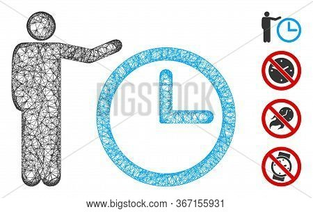 Mesh Time Show Web Icon Vector Illustration. Carcass Model Is Based On Time Show Flat Icon. Network