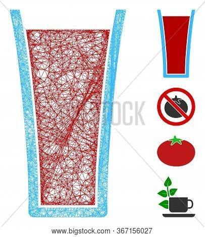 Mesh Tomato Juice Glass Web Icon Vector Illustration. Carcass Model Is Based On Tomato Juice Glass F