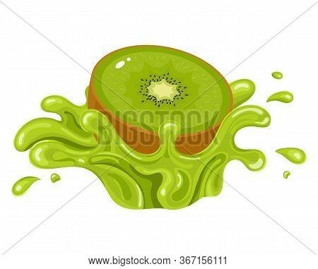 Kiwi Fruit Juice. Fresh Kiwifruit Splash Isolated On White Background. Illustration For Any Design