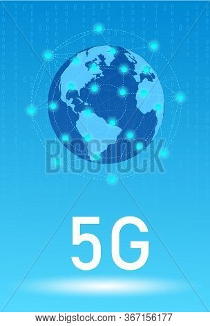5G wireless internet wifi connection. 5G technology worldwide. 5G Global network concept.Wireless network and 5G Connection technology concept Vector background