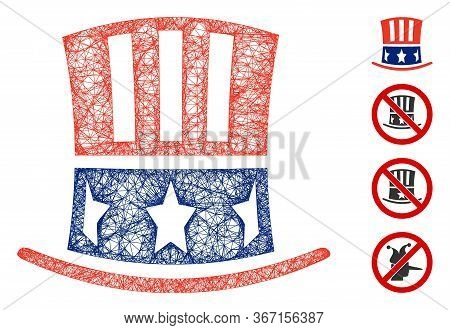 Mesh Uncle Sam Hat Web Icon Vector Illustration. Carcass Model Is Based On Uncle Sam Hat Flat Icon.