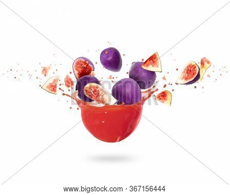 Whole And Sliced Ripe Figs With Splashes Of Fresh Juice, Isolated On White Background