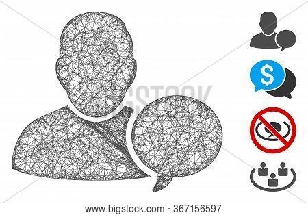 Mesh User Hint Balloon Web 2d Vector Illustration. Carcass Model Is Created From User Hint Balloon F