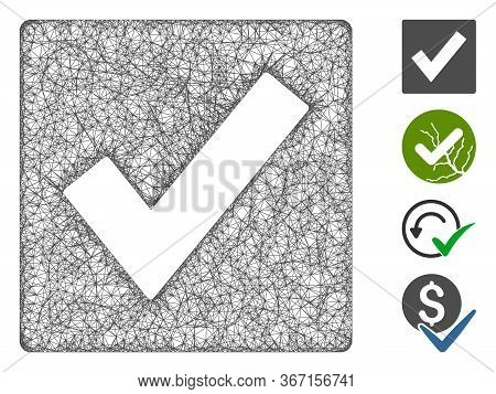 Mesh Valid Web 2d Vector Illustration. Carcass Model Is Based On Valid Flat Icon. Mesh Forms Abstrac