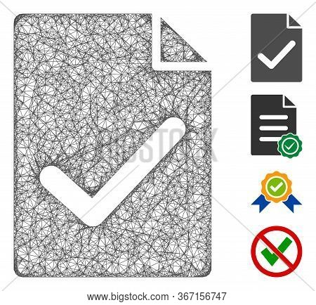 Mesh Valid Agreement Page Web 2d Vector Illustration. Carcass Model Is Based On Valid Agreement Page