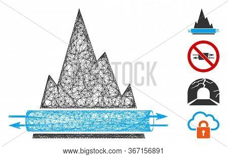 Mesh Vpn Tunnel Web Icon Vector Illustration. Model Is Based On Vpn Tunnel Flat Icon. Network Forms