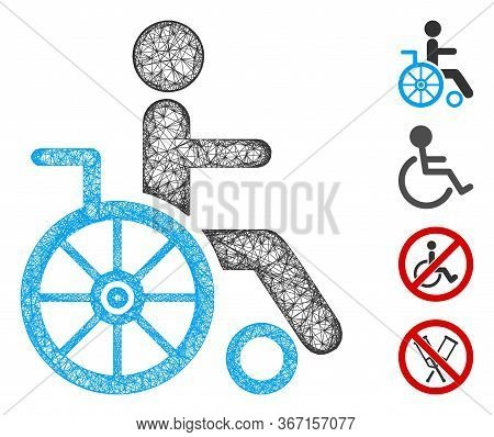 Mesh Wheelchair Web Icon Vector Illustration. Model Is Created From Wheelchair Flat Icon. Mesh Forms