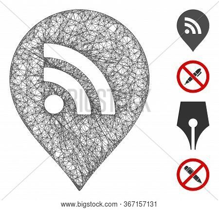 Mesh Wi-fi Marker Web 2d Vector Illustration. Model Is Created From Wi-fi Marker Flat Icon. Network