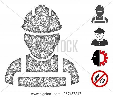 Mesh Worker Web Icon Vector Illustration. Model Is Created From Worker Flat Icon. Network Forms Abst