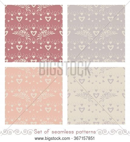 Set Of Seamless Patterns With Hearts, Little Hearts And Leaves. Color Ivory Cream, Grey, Orange And