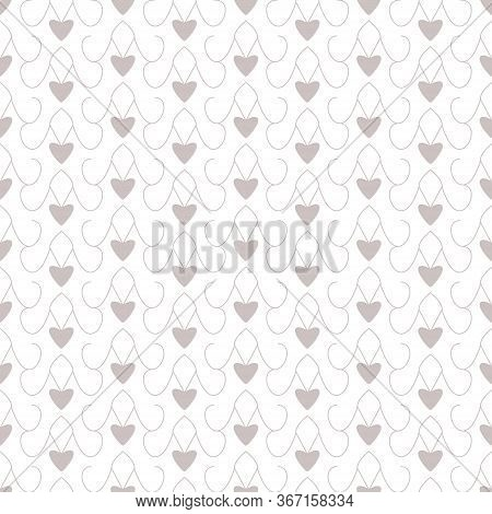 Seamless Pattern With Little Hearts. White And Grey. Vector.