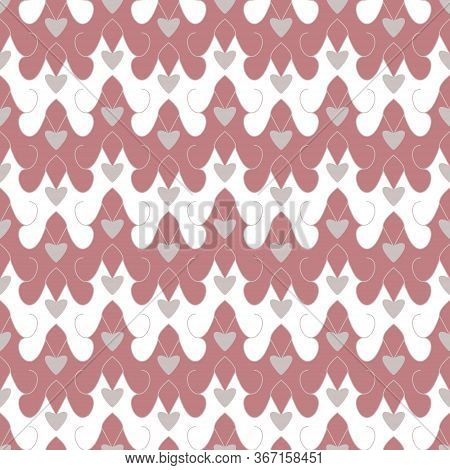 Seamless Pattern With Little Hearts. Pink Red Color And Grey. Vector.