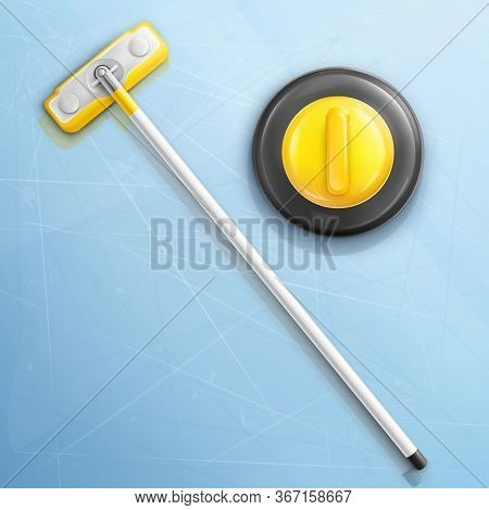 Broom And Stone For Curling Sport Game Vector Illustration Isolated On Ice Texture Background. Reali