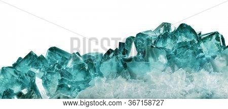 dark cyan quartz crystals isolated on white background