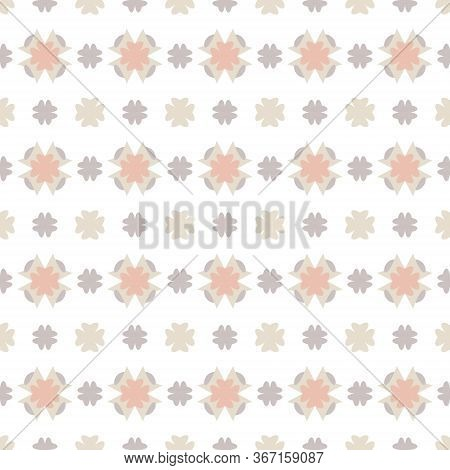 Seamless Pattern With Little Abstract Hearts. White, Grey, Orange And Ivory Cream. Vector.