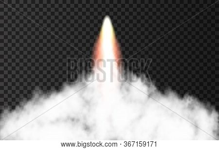 Flame And Smoke From Space Rocket Launch. Fire, Comet Or Meteor On Transparent Background.  Spaceshi