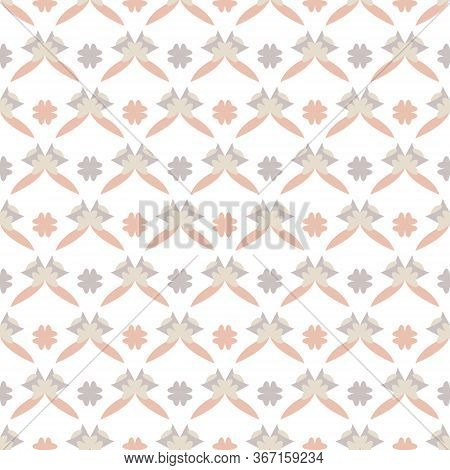 Seamless Pattern With Little Abstract Hearts. White, Grey, Orange And Ivory Cream. Vector