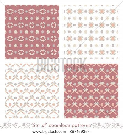 Set Of Seamless Patterns With Little Abstract Hearts. Pink Red Color, White, Grey, Orange And Ivory