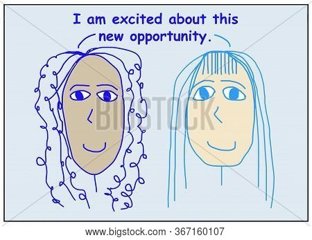 Color Cartoon Showing Two Smiling, Beautiful, And Ethnically Diverse Women Saying I Am Excited About