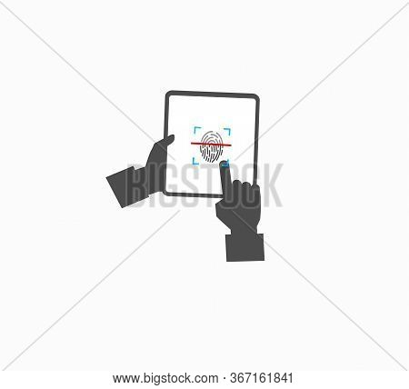 Fingerprint Gadget Screen Identification And Unlock Flat Vector Icon Isolated. Hands With Tablet