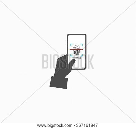 Smartphone In The Hand. Unlocking Smartphone Screen By Fingerprint Flat Vector Icon Isolated