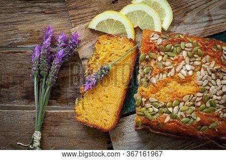 Homemade Fresh Carrot Cake With Sunflower Seed