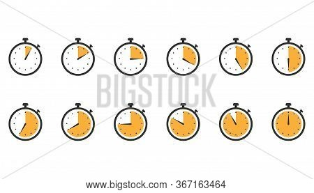Stopwatch Icons. Set Of Clock Timer In Flat Design In Orange. Counter Watch With Second Arrow. Yello