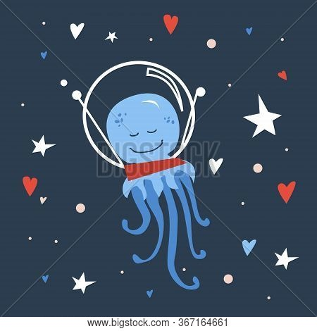Vector Handdrawn Cute Illustration Of Jellyfish In The Space Helmet On The Starry Sky. Concept For K