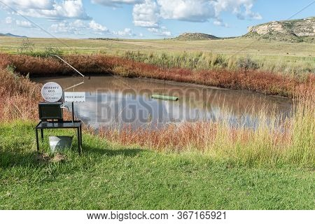 Fouriesburg, South Africa - March 18, 2020: A Golf Putting Hole Floating In The Middle Of A Dam At U