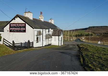 Denbigh, North Wales, Uk: Jan 5, 2017: Situated In A Remote Position On The Denbigh Moors, The Sport