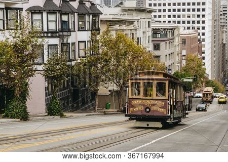 Cable Car On The Street Of San Francisco, Ca