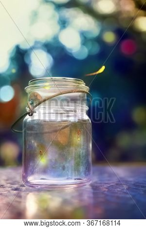 Fireflies in a jar at dusk