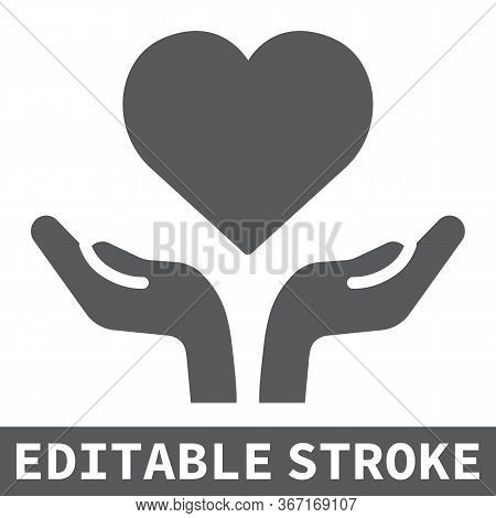 Heart In Open Hands Glyph Icon, Lgbt And Heart, Free Love Sign Vector Graphics, Editable Stroke Soli