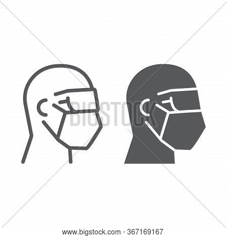 Man In Safety Mask And Goggles Line And Glyph Icon, Covid-19 And Protection, Medical Face Mask With