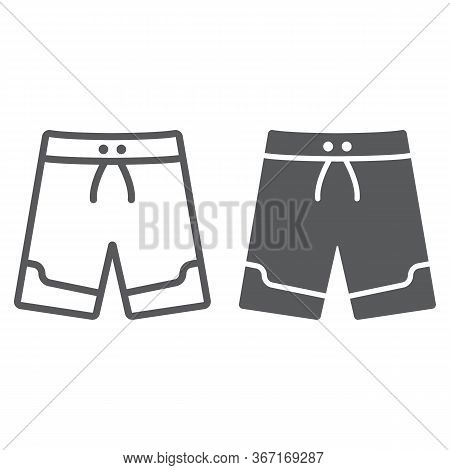 Swimming Trunks Line And Glyph Icon, Summer And Beach, Beach Trunks Sign Vector Graphics, A Linear I